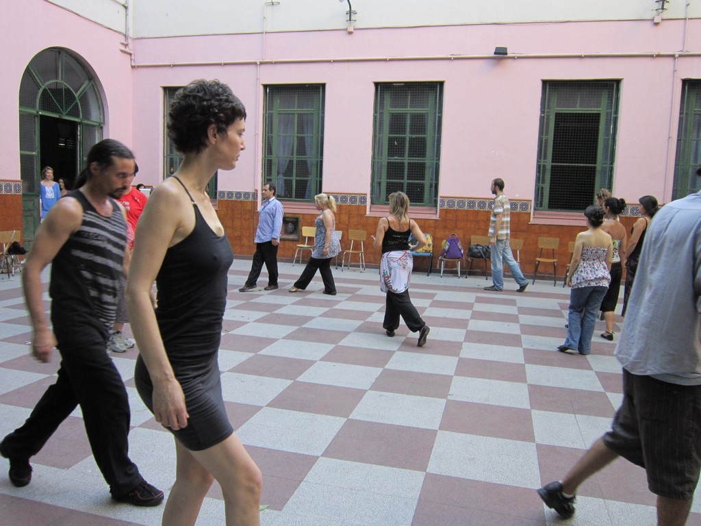Practicing the catlike tango walk with the psicotango community. Tango Vacation Buenos Aires